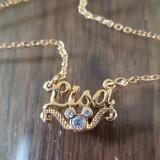 Disney Jewelry | Disney Lisa Necklace Gold With Rhinestones | Color: Gold/White | Size: 18.5