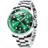 Men's Automatic Watches Green Face Silver Tone Swiss Mechanical Self-Winding Watches for Men Classic Unidirectional Bezel Magnified Date Windows Luminous Waterproof Men Luxury Analog Watches