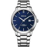 BREAK Classic Quartz Watch with Stainless Steel Strap Water Resistant 30m Date Watch (SL-Blue)