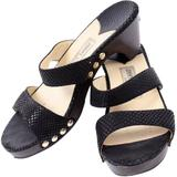 Shoes Snakeskin Heeled Double Strap Sandals Size 38 - Black - Jimmy Choo Heels