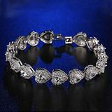 WUGDSQGH Bracelet for Women Silver Love Rhinestone Women's Sterling Silver Bracelet Ladies Luxury Jewelry Friendship Bracelet 925 Series 17-18Cm