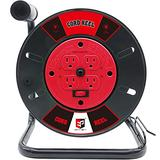Extension Cord Storage Reel with 4 Outlets,10A Circuit Breaker,Hand Wind Retractable,Heavy Duty Open Cord Reel for 12/3,14/3,16/3 Gauge Power Cord (Red/Black)