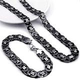 AMOZ Stainless Steel Handmade Chain, Chunky Byzantine Chain King Necklace Bracelet Set, Steel/Gold Steel/Black Steel Two-Tone Jewelry 6/8/10Mm,8Mm,Black,10Mm