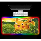 Gaming Mouse Pads Pokemon Anime Gaming RGB Computer Gaming Gamer Desktop Mat Led Pc Accessories with Backlight 35.43 inch x15.74 inch