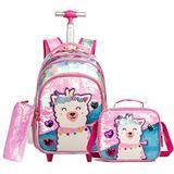 "HTgroce Cute Alpaca Girls Rolling Backpack ,Backpack with Wheels for Girls Lightweight Kids Backpack Lunch Bag for Preschool Kindergarten Elementary Girls 16.5"""