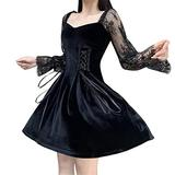 Black Gothic Dress for Women Lace Mesh Long Sleeve Lace-up Goth Suede Dresses Cosplay Party Swing Cocktail Mini Dress