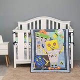 7 PCs Blue Robot Nursery Crib Bedding Set Baby Boy Toddler Boy Robot Theme Bedding Set Boys Gift Idea