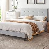 Upholstered Flat Point Headboard Queen Bed Frame, Queen Size Bed Frame with Headboard, No Box Spring Needed Wood Frame, Platform Bed Frame Queen, Floor Bed Frame, Mattress Foundation, Light Grey