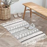 Seavish Boho Rug Runner,Cotton Area Rug 2x3 Washable Geometric Printed Bohemian Decor,Tufted High-low Pile Farmhouse Black Cream Small Accent Rugs with Tassels for Living Room Bedroom Bathroom Kitchen