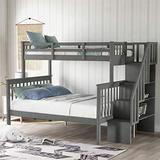 Bunk Bed Twin Over Full Size, Wooden Bunk Bed with Storage, Bunk Beds for Kids, Gray