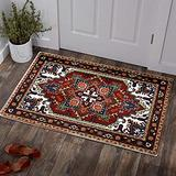 YoKii Persian Oriental Area Rugs 2x3 Faux Wool Traditional Red Medallion Floral Boho Kitchen Rug Non-Slip Shag Tribal Accent Throw Rugs for Bathroom Entryway Doormat Washable (2x3, Dark Red)