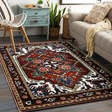YoKii Persian Oriental Area Rug 3x5 Faux Wool Traditional Red Medallion Boho Floral Kitchen Rug Rubber Backed Vintage Tribal Accent Rugs for Bedroom Living Room Entryway Washable (3x5, Dark Red)