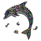 Celina Haydee Dolphin Figured Wooden Puzzle - Majestic Dolphin Puzzle for Kids and Adult - Dolphin Unique Shape Pieces Wood Puzzle 100 Pieces - Dolphin Sea Ocean World Puzzle