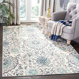 HNU 9' X 12' Glam Vintage Style Boho Rugs Chic Floral Paisley Pattern Eclectic Cream Grey Oriental Area Rugs - Polypropylene Contains Latex Transitional Farmhouse Area Rugs - Indoor, Outdoor, Patio