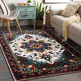 YoKii Persian Oriental Area Rug 3x5 Faux Wool Traditional Medallion Boho Floral Kitchen Rug Rubber Backed Vintage Small Throw Rugs for Bathroom Bedroom Living Room Entryway Washable (3x5, Rose)