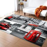 Rectangle Area Rug 5'x8' Black and White City Landscape Paris Eiffel Tower Red Bus Umbrella Telephone Booth Floor Mats Large Area Rug Carpet for Entryway/Front Porch/Kitchen/Bathroom/Bedroom