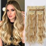 LNERATO Wavy Long Hair Extensions Clips in Synthetic Hair Extensions for Women 20inch Full Head Set Thick Synthetic Hairpieces 260g-Warm Blonde and Bright Blonde