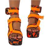 Black Platform Sandals for Women,Women's Open Toe Gladiator Ankel Strap Sexy Snakeskin Flats Platform Sandals for Women (Orange #W, numeric_12)