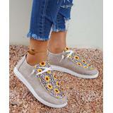 ROSY Women's Boat Shoes Chrysanthemum - Gray & Yellow Floral & Leopard Boat Shoe - Women