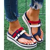 YASIRUN Women's Sandals Navy - Navy & Red Color Block Platform Sandal - Women