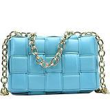 JINMANXUE Leather Shoulder Bags for Women Crossbody Bags Chain Bags Lattice Bags (Blue)