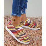 ROSY Women's Boat Shoes Stripe - Yellow & Red Stripe Boat Shoe - Women