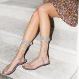 Free People Shoes | Free People Dahlia Lace Up Sandal Sunkissed 38 | Color: Gold/Purple | Size: 8