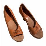 Michael Kors Shoes | Micheal Kors Wood Platform Wedge Peep Toe Leather | Color: Brown | Size: 7.5