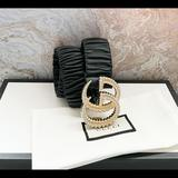 Gucci Accessories   Gucci Gg Buckle Ruched Black Leather Waist Belt   Color: Black/Gold   Size: 8534