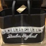 Burberry Bags | Burberry Black Canvas Medium Reversible Tote Bag | Color: Black/Gray | Size: Os