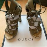 Gucci Shoes   Gucci Jasmine Espadrille High Heel Sandals   Color: Cream/Green   Size: 6