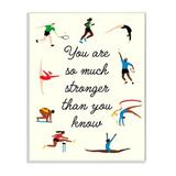Stupell Industries Stronger Than You Know Phrase Summer Athletes by Victoria Barnes - Graphic Art Print Wood in Brown   Wayfair ac-160_wd_13x19