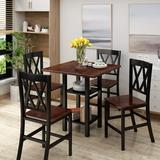 Gracie Oaks Aigan 5 - Piece Counter Height Dining SetWood in Black/Brown, Size 36.0 H x 35.0 W x 35.0 D in | Wayfair