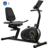 Bosixty Recumbent Exercise Bike w/ 8-Level Resistance, Bluetooth Monitor, Easy Adjustable Seat, 380Lb Weight Capacity Metal in Black   Wayfair