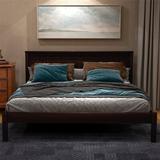 Red Barrel Studio® Wood Platform Bed w/ Headboard, Wood Slat, Queen Wood/Metal in Gray, Size 57.0 W x 76.0 D in   Wayfair