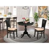 Alcott Hill® Deville 3-Pc Dinette Room Set- 2 Modern Dining Chair & Kitchen Dining Table - Wooden Seat & Slatted Chair Back -Finish in Black Wayfair