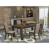 Lark Manor™ Flippen Rubber Solid Wood Dining Set Wood/Upholstered Chairs in Gray/Brown, Size 30.0 H in | Wayfair D05FD244F36E4D4CA3D5C7E57EFAA738