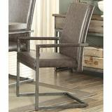 17 Stories VintagePU & Antique Silver Haeli Arm Chair For Living Room Kitchen Room (Set-Two) in Gray, Size 40.0 H x 25.0 W x 23.0 D in | Wayfair