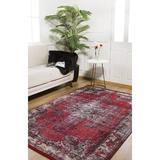 Bungalow Rose Rathdrum Oriental Red/Blue Indoor/Outdoor Area Rug Polyester/Cotton in Black, Size 56.0 W x 0.4 D in   Wayfair