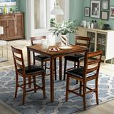 Red Barrel Studio® Square Counter Height Wooden Kitchen Dining Set, Dining Room Set w/ Table & 4 Chairs (Grey) Wood/Upholstered Chairs in Brown
