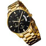 Watches for Men Luxury Waterproof Luminous Fashion Dress Casual Analog Quartz Chronograph Large Big Face Stainless Steel Band Sports Gold Black Wrist Watch Gifts NIBOSI