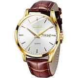 Men Watch Leather Brown Black Analog Quartz Casual Wristwatch for Men Father Boyfriend Day Date Waterproof Business Classy Simple Wrist Watches Gift (White dial)