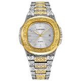 Men's Gold Tone Watch Retro Pattern Sculpture Stainless Steel Analog Display with Date (Silver Gold White)