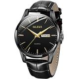 Men Watch Leather Brown Black Analog Quartz Casual Wristwatch for Men Father Boyfriend Day Date Waterproof Business Classy Simple Wrist Watches Gift (Y-Black Band & Black dial)