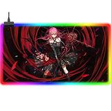 Gaming Mouse Pads Large Extended LED Mouse Mat Anime Guilty Crown RGB Gaming Mouse Pad Improves Precision and Speed Backlit Computer Keyboard Pad USB Laptop Desk Pad for Gamer 35.4x15.7Inch