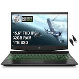 "2021 Flagship HP Pavilion Gaming 15 Laptop 15.6"" FHD IPS 10th Gen Intel Quad-Core i5-10300H (Beats i7-10710U) 32GB RAM 1TB SSD GeForce GTX 1650 4GB Backlit USB-C B&O Win10 Black + iCarp HDMI Cable"
