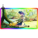 Gaming Mouse Pads RGB Computer Pad Anime Final Fantasy Large Extended LED Gaming Mouse Pad Improves Precision and Speed Backlit Computer Keyboard Pad USB Gamer Laptop Mouse Mat Office 35.4x15.7Inch