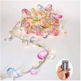 [updated version] Indoor House String lights-Bohemia style String with Jewels-Colorful Jewels LED Fairy Christmas Lights-Battery Powered-8 Mode- Remote-Timer,30 Warm White LED Gift Lights for Girl