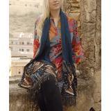 Karma Living Shawls - Teal & Blue Abstract Embroidered Merino Wool Shawl