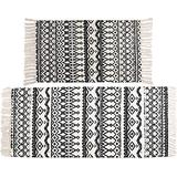 Nicunom 2 Piece Cotton Area Rugs, 2'x4.2'+2'x3', Hand Woven Black and Cream Cotton Rug with Tassels Machine Washable Throw Rug Runner for Living Room Kitchen Floor Laundry Room Doorway